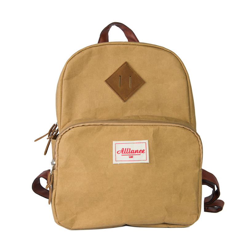New Fashion printing brown washed craft paper backpack
