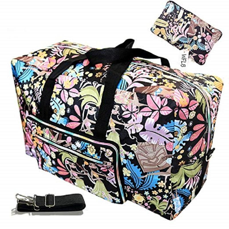Womens Foldable Travel Duffel Bag 50L Large Cute Floral Travel Overnight Carry On Bag  For Girls Kids