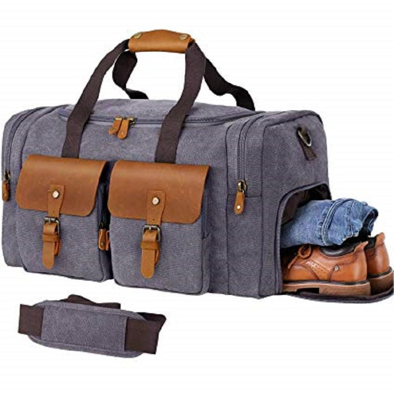 Unisex Canvas Genuine Leather Large Duffel Overnight Weekender Bag with Waterproof Shoe