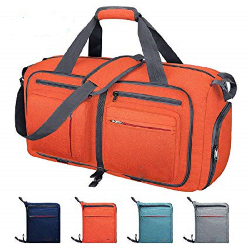 55L Water-proof Tear Resistant Foldable Weekender Duffle Bag with Shoes Compartment Packable