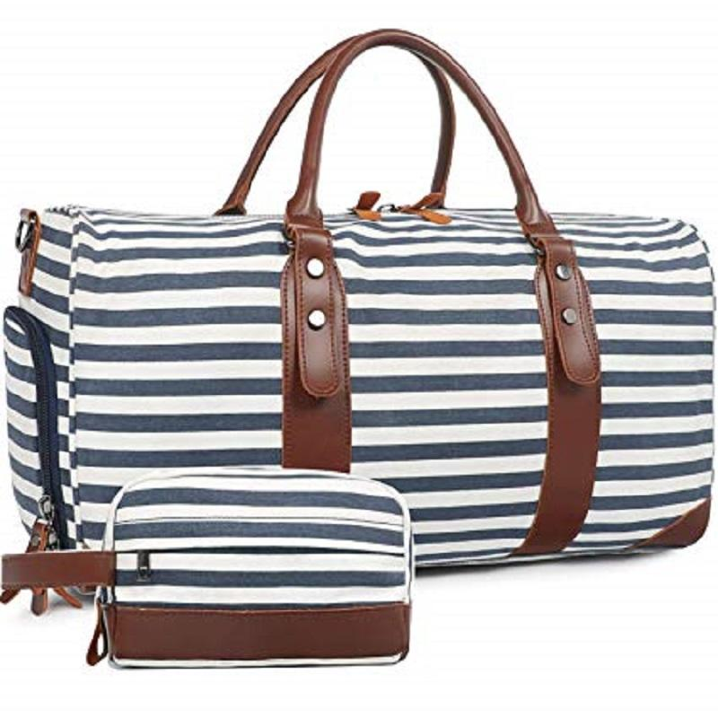 2 PACK Overnight Canvas Sports Gym Weekend Travelling Duffel Bag