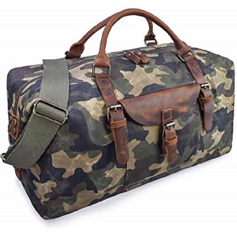 Oversized Waterproof Canvas Genuine Leather Weekend Carry on Travel Duffel Hand Bag