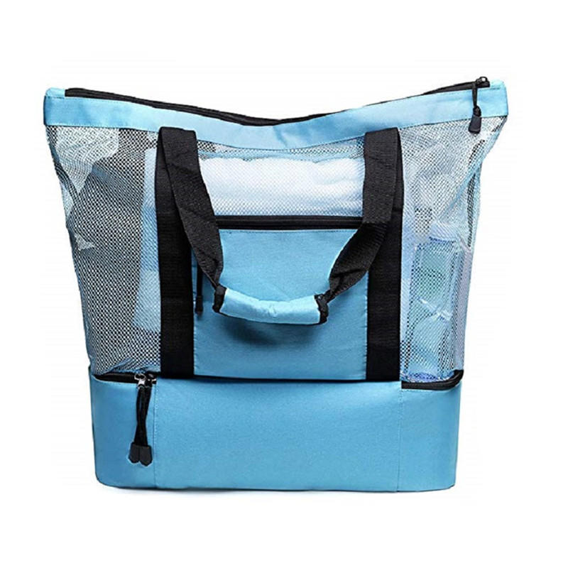 Mesh Beach Bag and Totes Insulated Picnic Cooler Pool Bag with Zipper Top for Women Kids Student