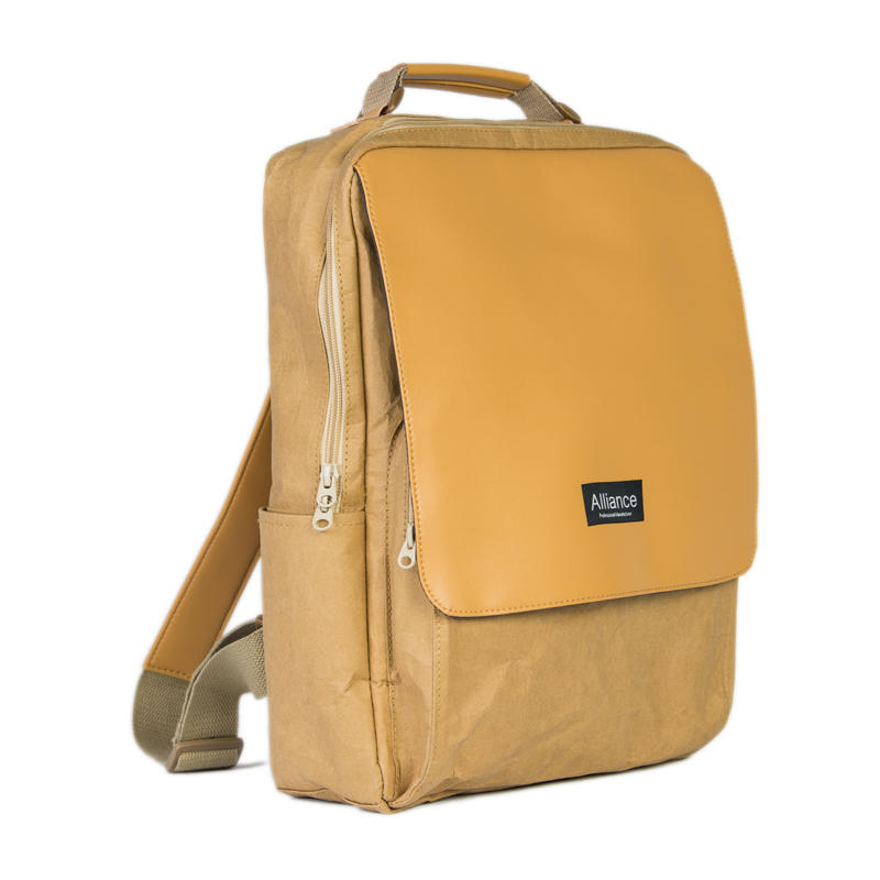 Portable Digital Multi-function Washed Kraft Paper Backpack With PU