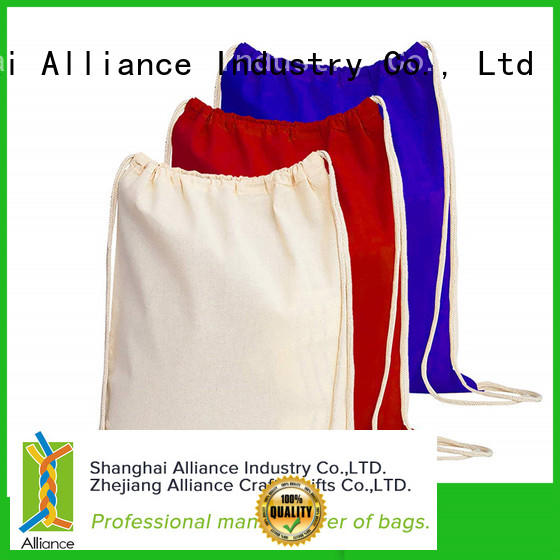 Alliance hiking cotton drawstring bags design for sport