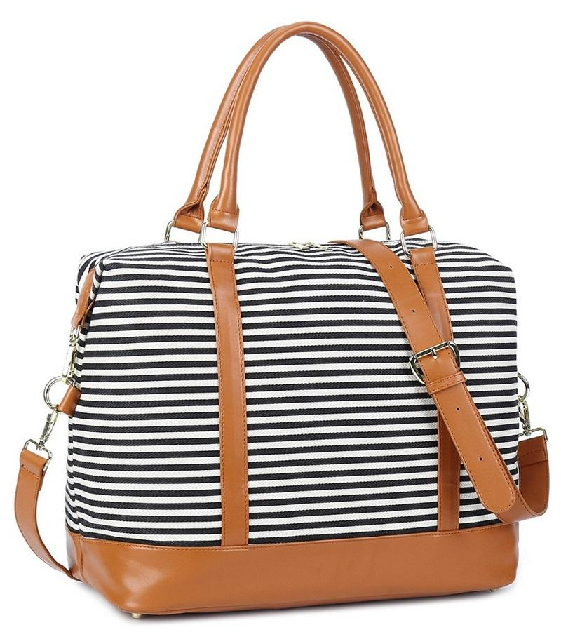 Ladies Canvas Weekender Bag Overnight Carry-on Travelling Bag