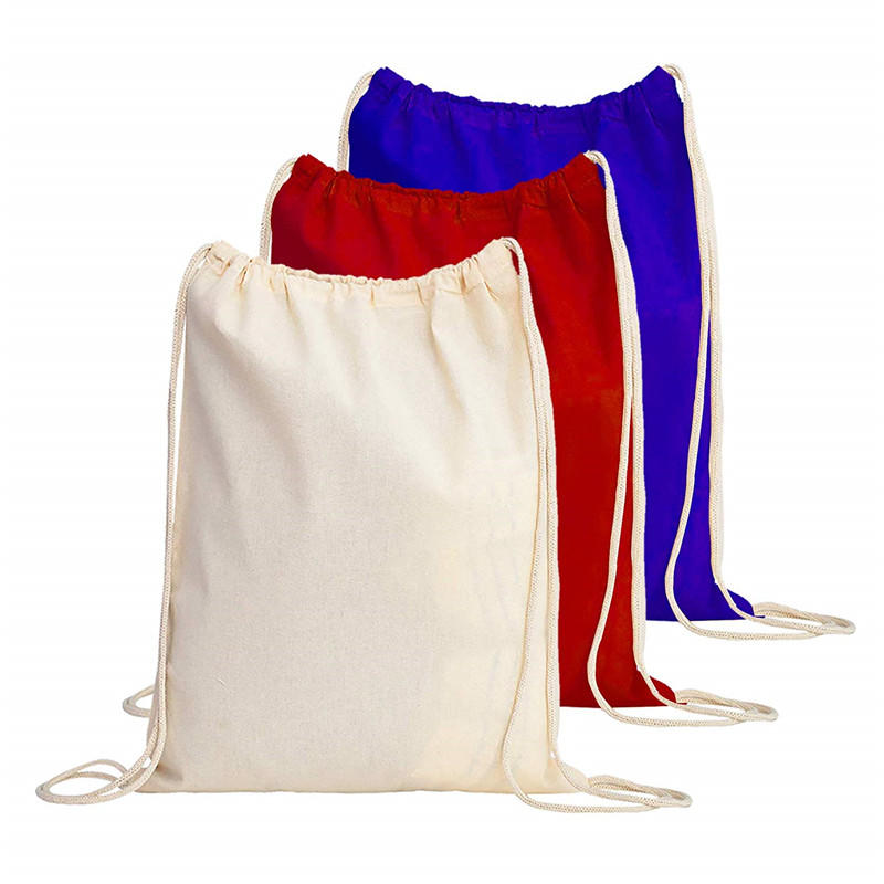 OEM color and logo 100% cotton drawstring bag canvas backpack