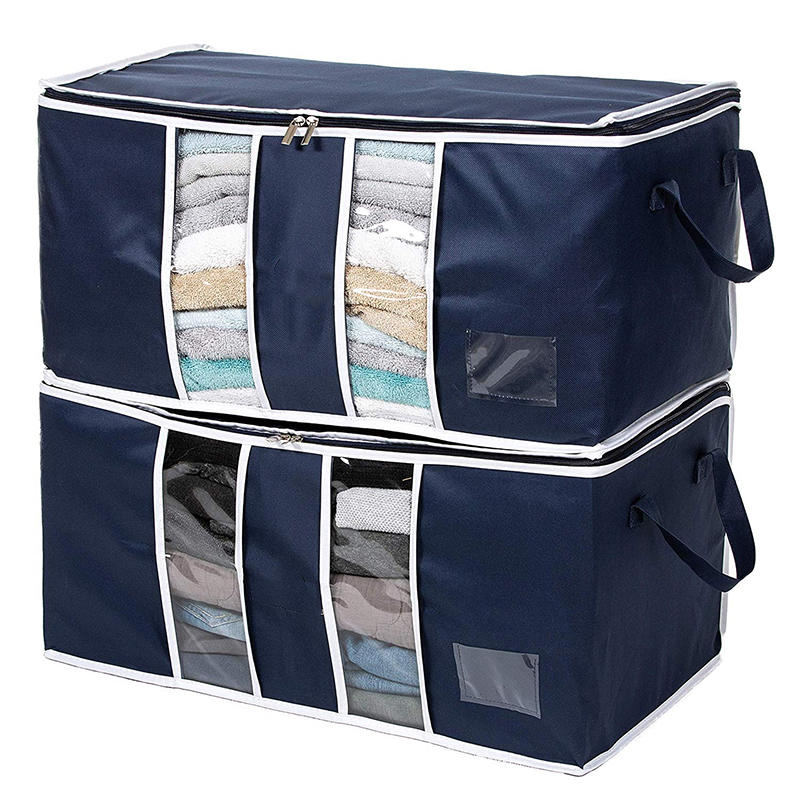 Large Capacity Clothes Storage Bag Organizer with Reinforced Handle Thick Fabric for Comforters