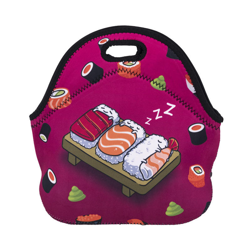 Thermal reusable stylish children insulated custom logo neoprene lunch tote bag