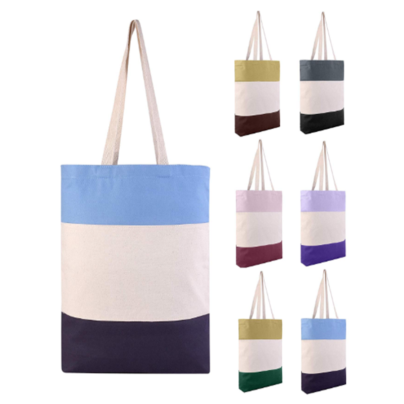 Reusable Fancy Durable Tri-Color Canvas Blank Shopping Tote Bags