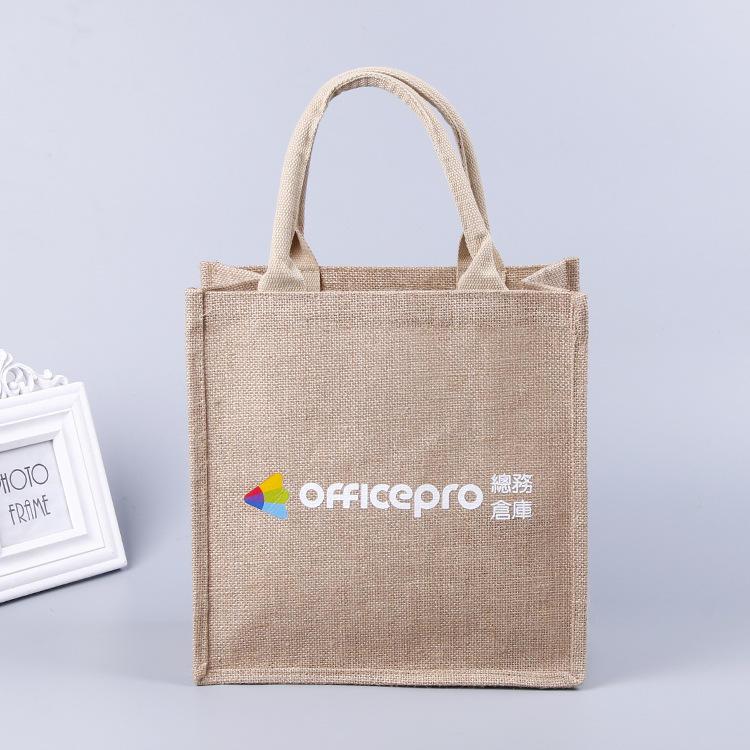 wholesale promotional natural custom jute tote shopping bag with screen printing logo