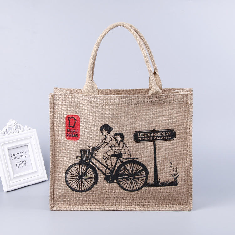 Promotional Biodegradable tote Custom logo personalized natural jute shopping bag