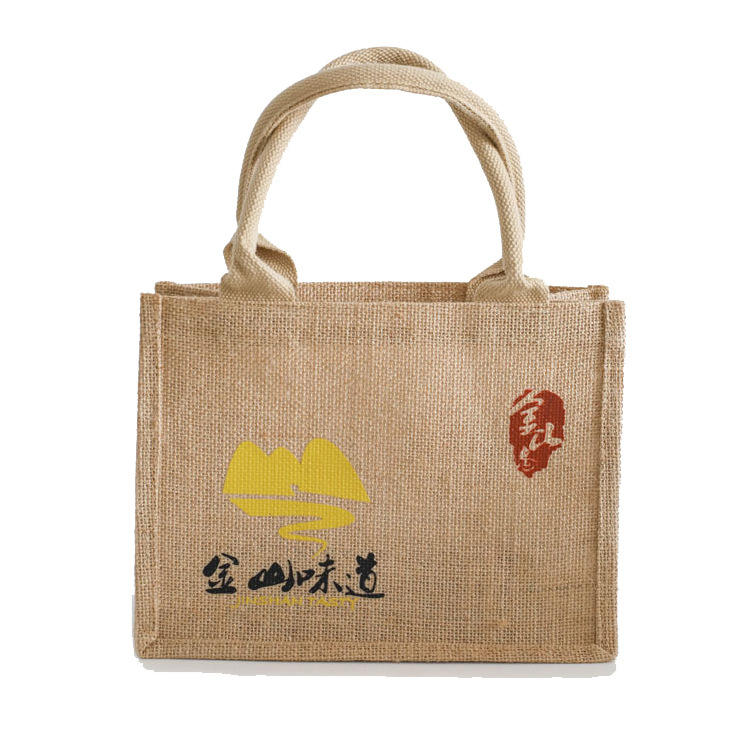 Eco-friendly reusable shopping grocery natural jute burlap bag with handles
