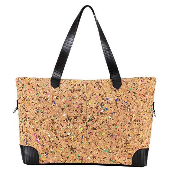 Cork Large Tote Bag with Zipper, Cork Shoulder Bag for Women