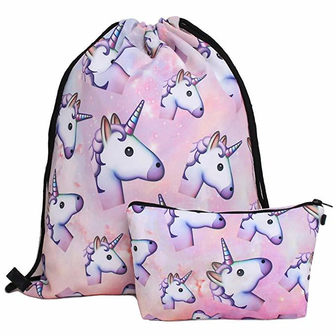 Waterproof Drawstring Bag for Girls Print Backpack Travel Gym Bags