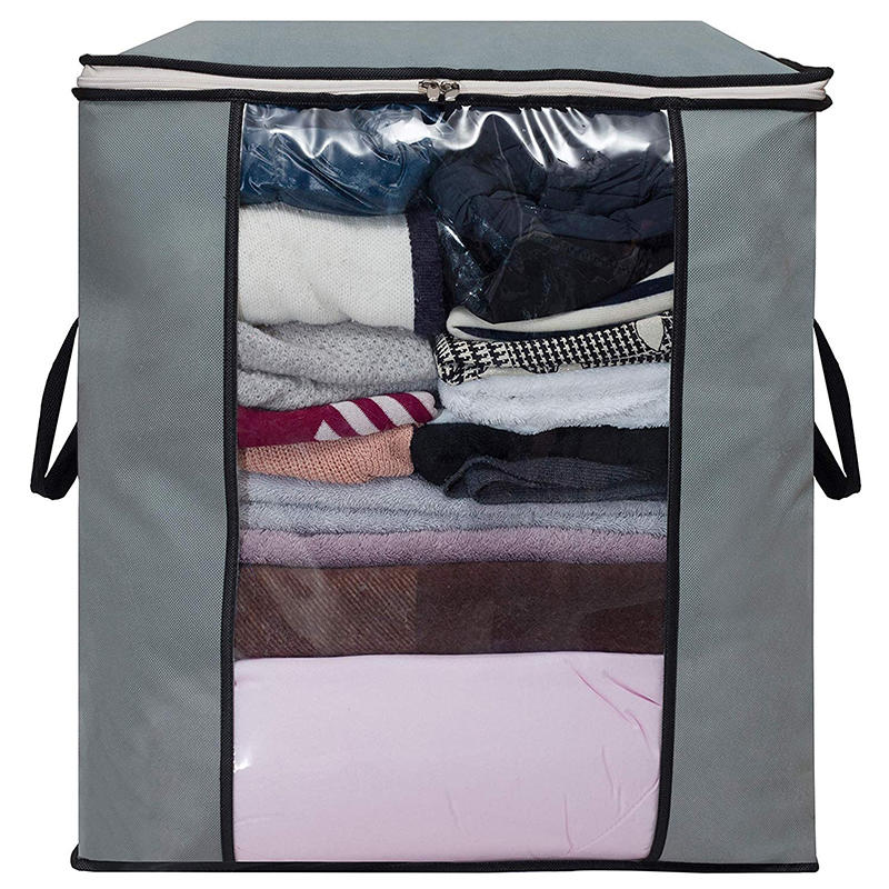 Foldable Storage Bag Organizer Clothes Storage Container for Blanket Comforter Clothing Bedding with Durable Handles