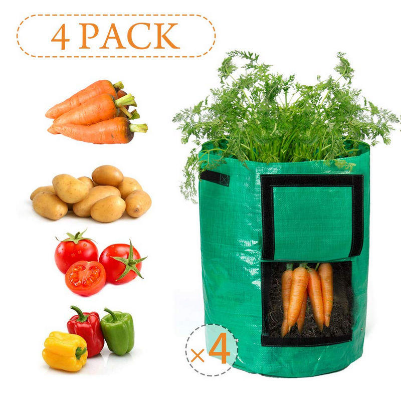 4Pack10Gallon Grow Bags with Access Flap and Handles for Harvesting Potato, Carrot, Onion, tomata,Vegetable and Flower.