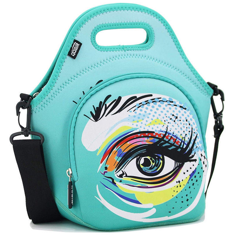 Insulated Neoprene Lunch Bag Tote with Zipper Pocket & Strap - Large 12