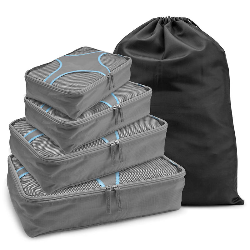 Packing Cubes 4 Set Travel Luggage Organizers Storage Bags with Durable Laundry Bag