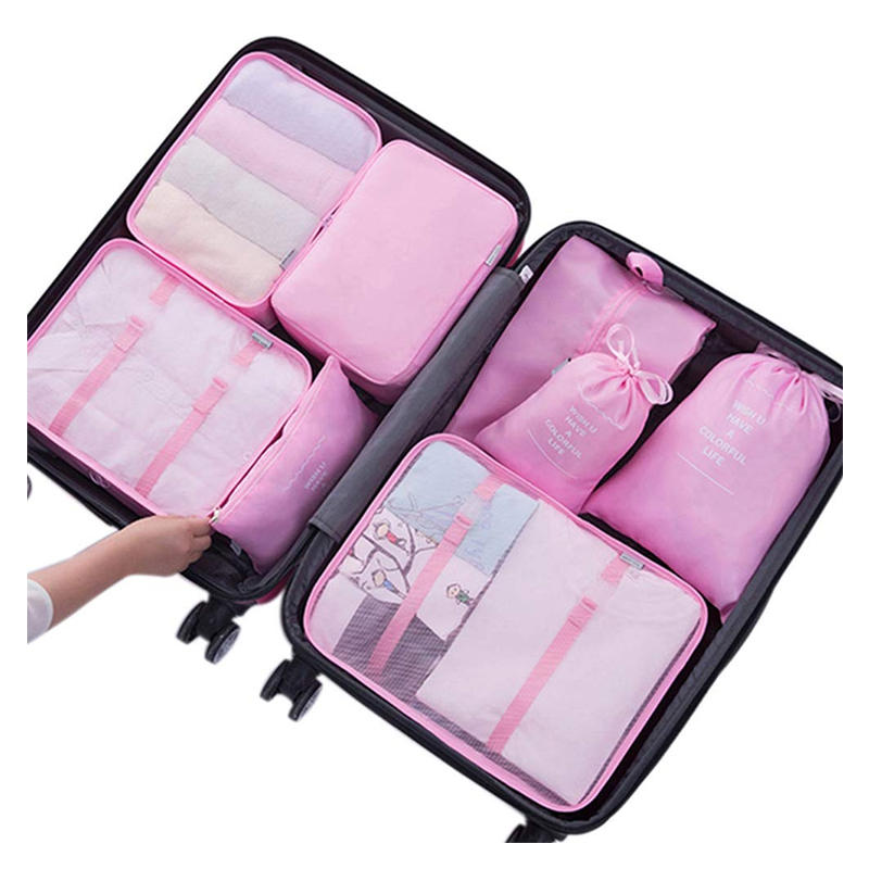 8 Set Packing Cubes Waterproof Mesh Compression Travel Storage Bags with Shoes Bag
