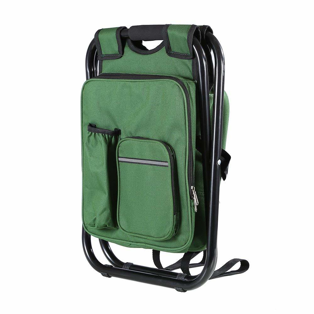 Fishing Backpack Chair, Portable Camping Stool, Foldable Solid Construction Backpack Stool with Double Layer Oxford Fabric Cooler Bag for Fishing, Beach, Camping, House and Outing (Green)