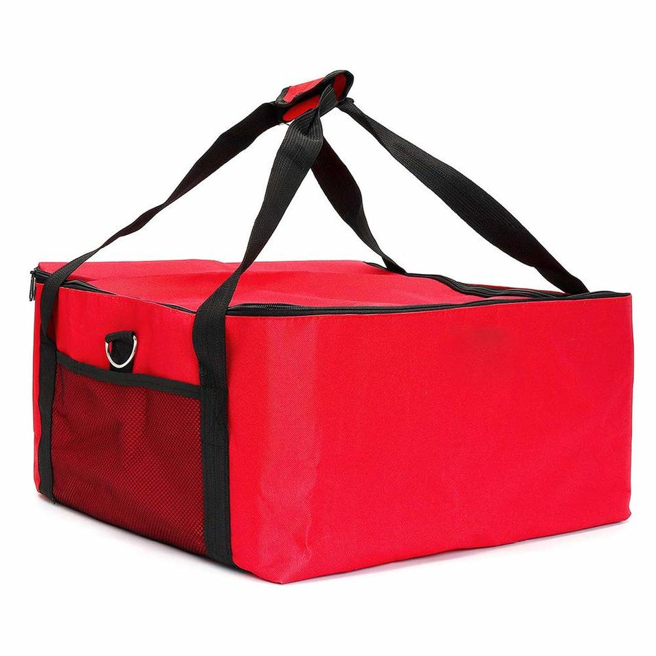 Pizza Bag, Large Insulated Food Delivery Bag, Thermal Insulated Food Carry Bag, Perfect Pizza Delivery Bag, Thermal Cooler Bag Food Container(16.5x16.5x9inch,Red)