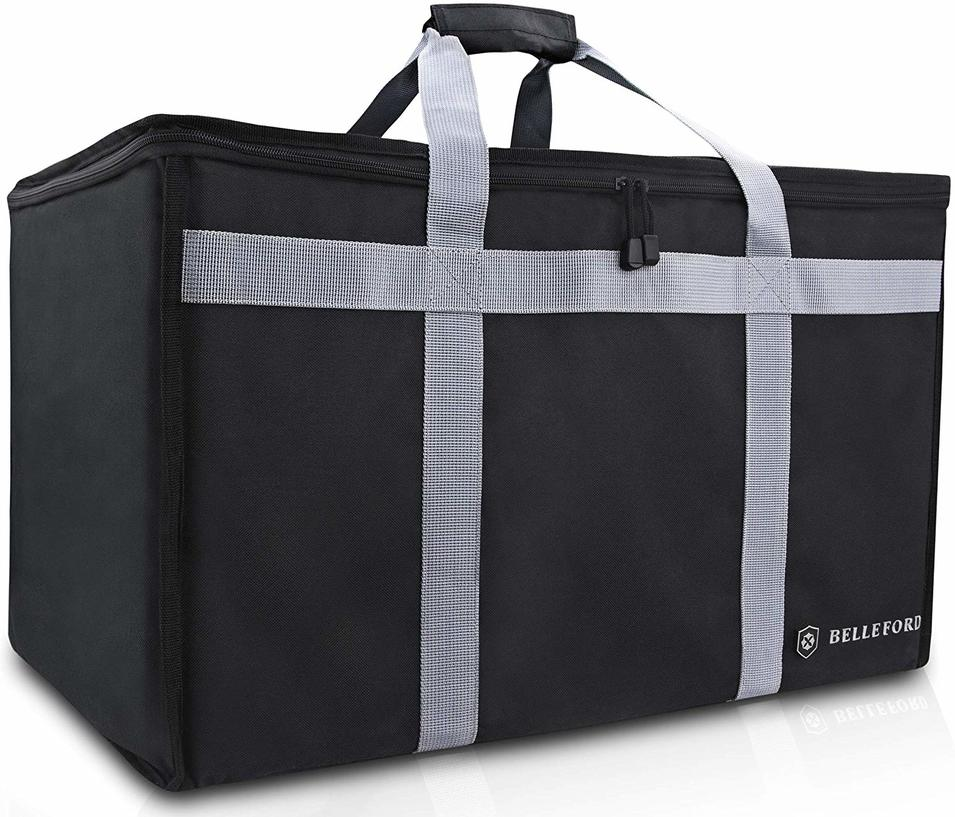 Insulated Food Delivery Bag - Waterproof Warmer Cooler Grocery Storage Bags - Restaurant Buffet Server, Warming Tray, Lunch Container Store - Steamer, Pizza Box, Chafing Dish & Casserole Carrying Case