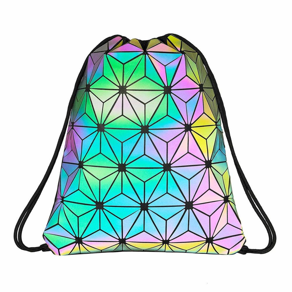 Drawstring Bag Gym Bag Sport Backpack Holographic Reflective Shoulder Bags Travel College Rucksack for Women Men