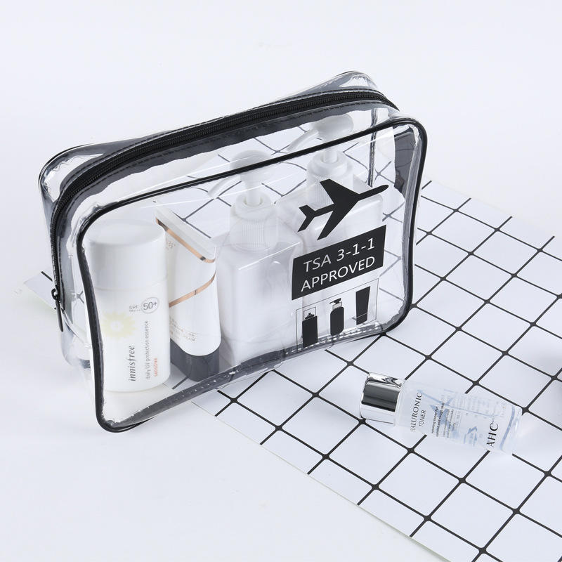 washable kraft clear tpu makeup mini bag with zipper bag