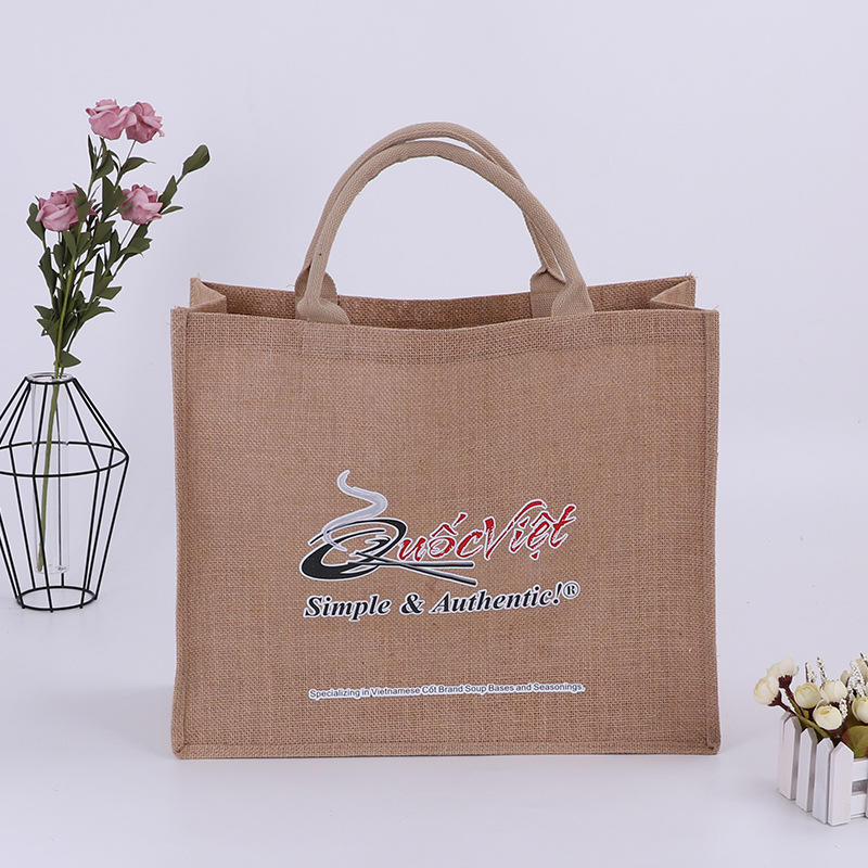 wholesale promotional natural eco jute tote shopping bag with screen printing logo