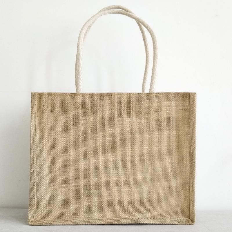 Eco Recycle Reusable Large Burlap Jute Hemp Shopping Tote Bag