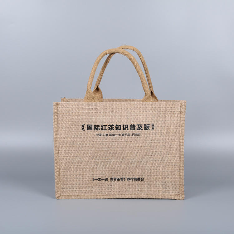 Custom logo jute tote shopping bag