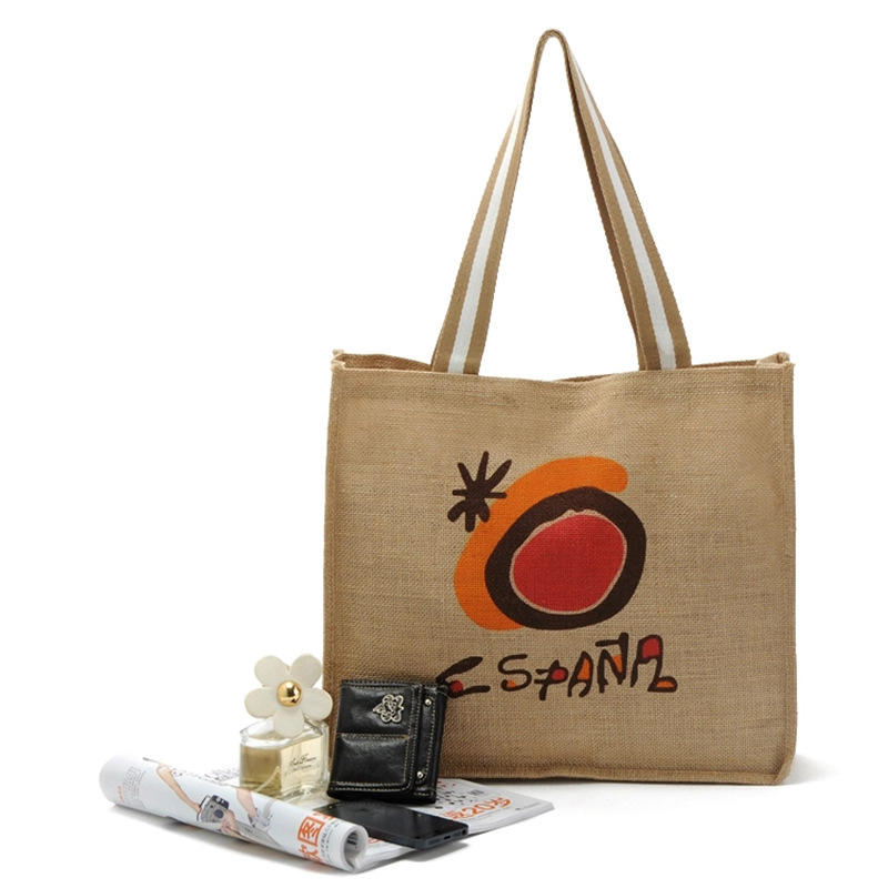 Natural burlap eco friendly tote bags reusable jute shopping bag