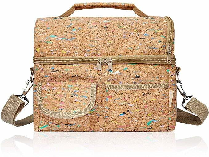 Cork Lunch Bag Insulated cooler box with Adjustable Shoulder Strap and handle
