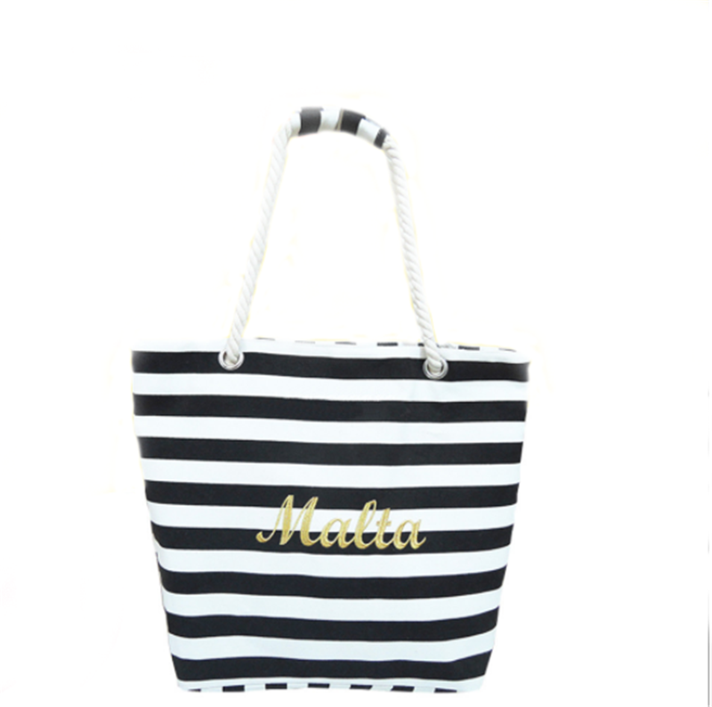 Beach Bag With Inner Zipper Pocket Tote Bag with Rope Handles