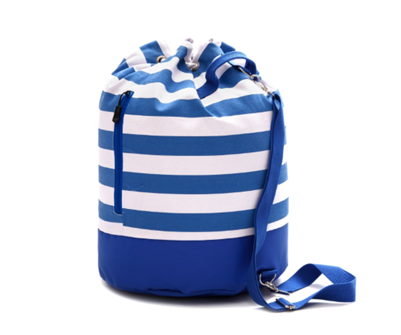 Large Canvas Beach Bag - Single Strap Bag With Waterproof Bottom - Drawstring Backpack For Beach And Travel
