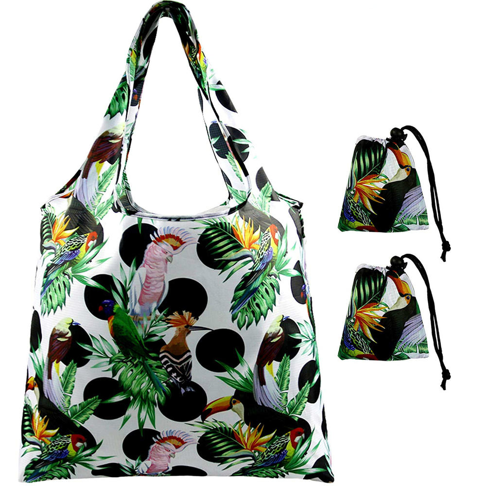 Foldaway Shopping Bags Reusable Shopper with Drawstring Pouch