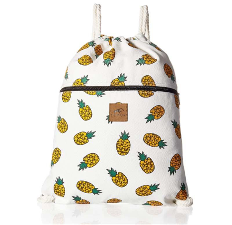 Canvas Drawstring Backpack with Front Zipper Pocket for Gym School, Travel Day