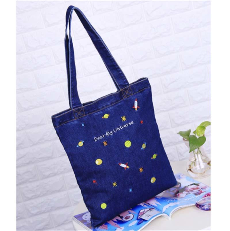 Washed Denim Heavy Canvas Twill Book Tote Bags for Daily Use