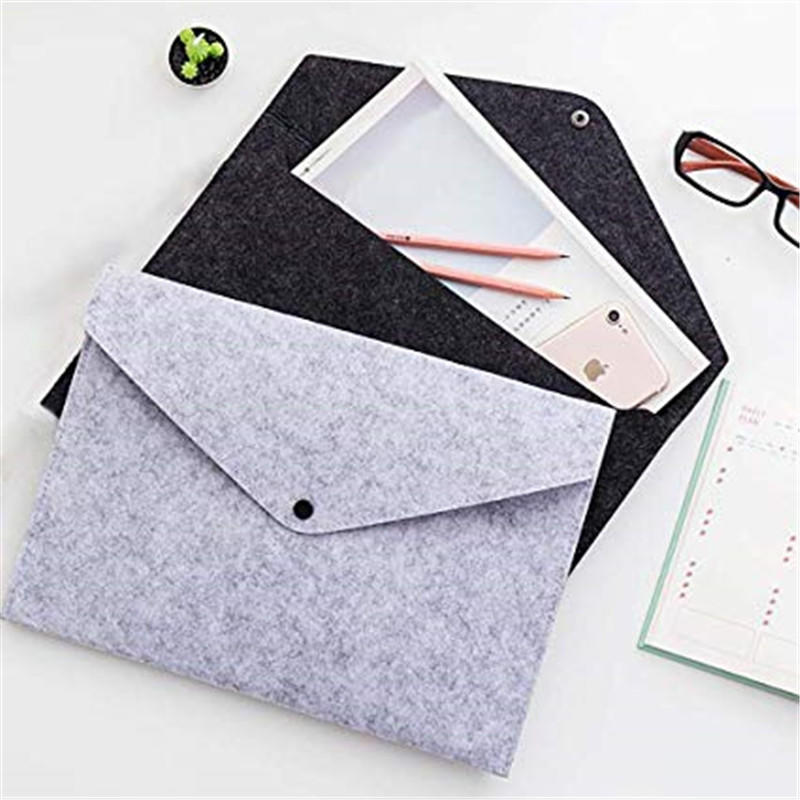 Felt File Folders Document Organizer Filling Envelopes A4 Letter Size/Felt Case Bag Sleeve Protector with Snap Button