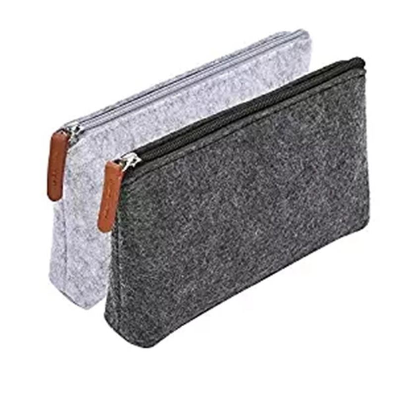 Pencil Bag,Felt Makeup Pouch Storage Bag with Zipper for School and Office Supplies