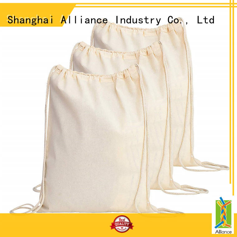 Alliance reusable cotton drawstring bags with good price for student