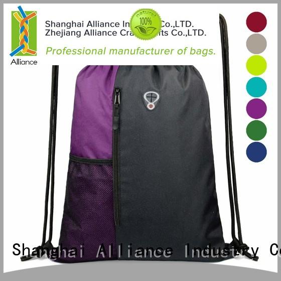 Alliance reusable drawstring backpack with good price for sport
