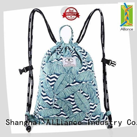 Alliance cotton drawstring bags design for sport