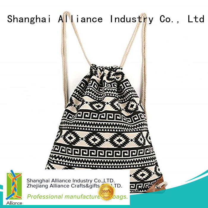 Alliance drawstring bags design for girls