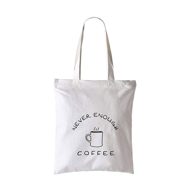 Handmade 100% Cotton Canvas Tote Bag Reusable Grocery Bags with Zipper and Pocket Perfect for Cosmetic, Laptop, Shopping, Travelling and School Books, Never Enough Coffee