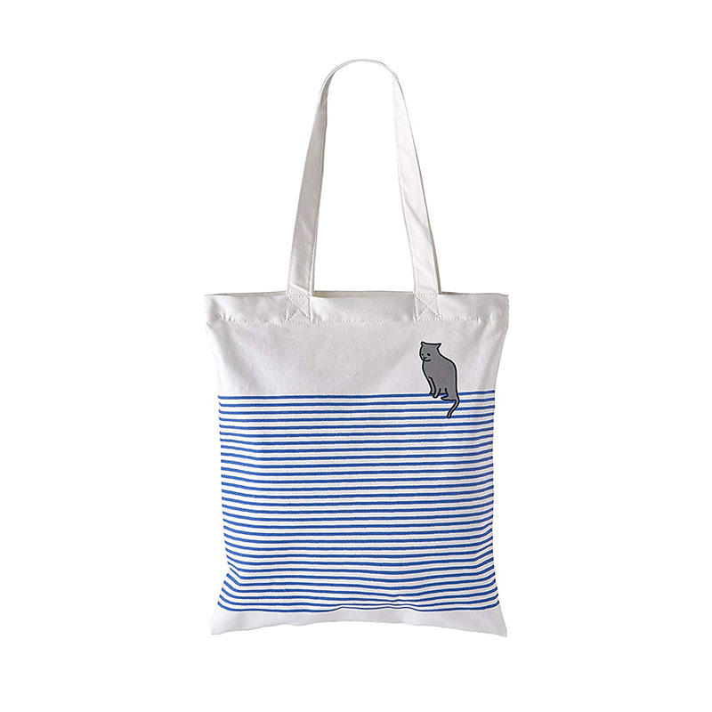 The Blue' Cotton Canvas Tote Bag Stylish Casual Shoulder Bag with Zipper and Pocket for Shopping Travel and School Work Blue Striped Eco-Friendly (Bluecat)
