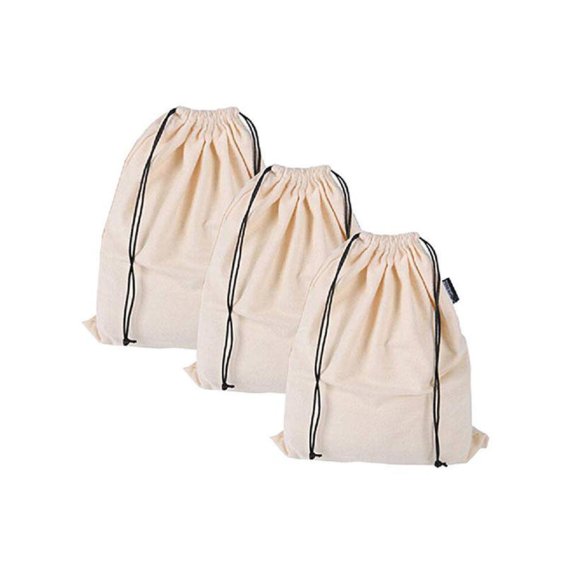 Set of 3 Cotton Breathable Dust-Proof Drawstring Storage Pouch Bag