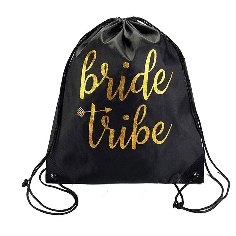 Black Bride Tribe and Bride Canvas Beach drawstring Tote Bags for Bachelorette Parties, Weddings and Bridal Showers