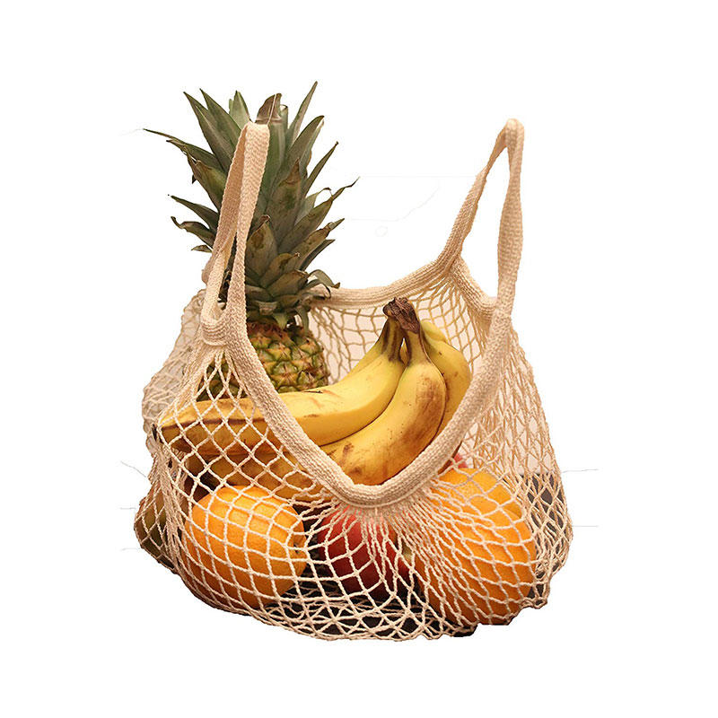 Net Cotton String Shopping Bag, Creatiee Reusable Mesh Market Tote Organizer for Grocery Shopper Produce Storage Beach Toys Fruit Vegetable - Less Plastic(5 Colors) (Short Handle)